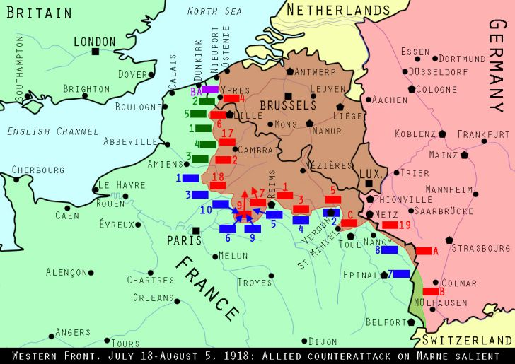 Map of the Western Front, July 1918