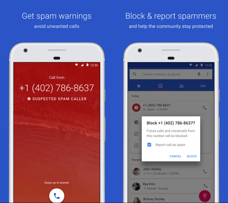 Two side-by-side screenshots of the Google Phone app showing a spam warning and blocking numbers