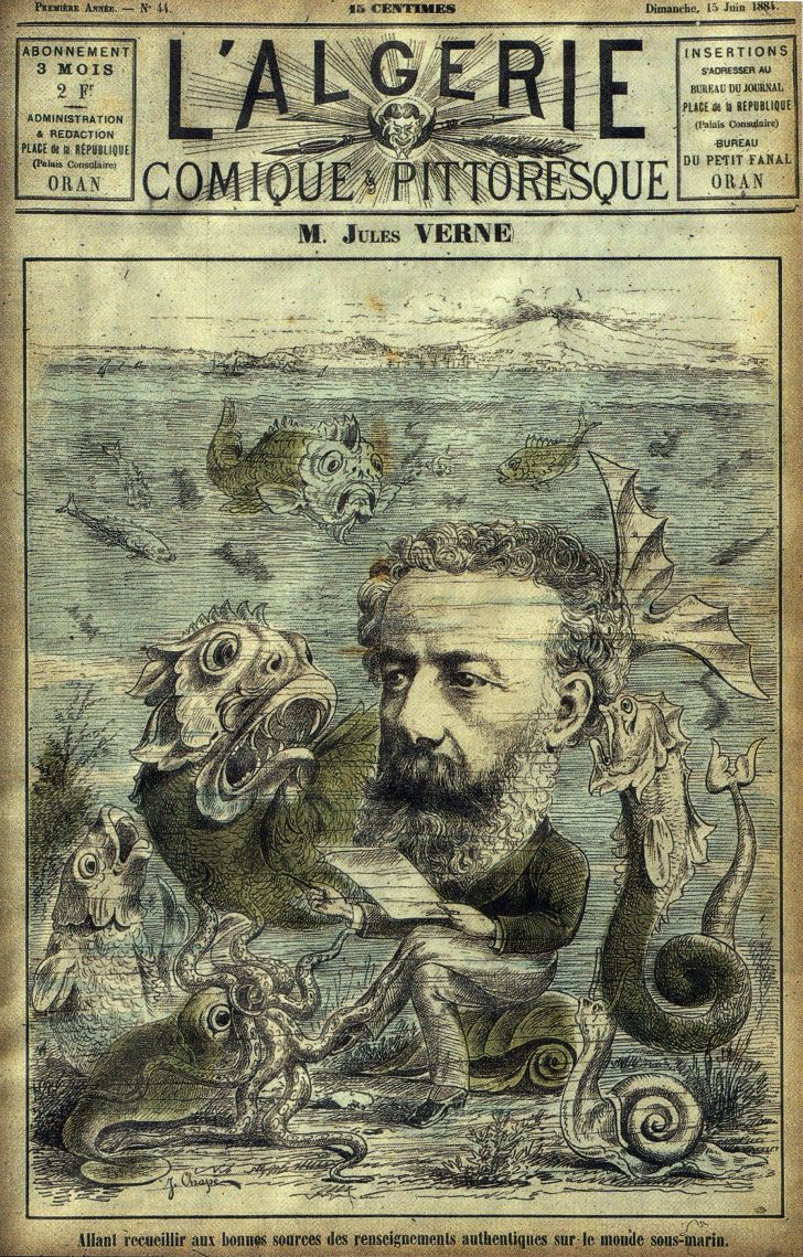 A caricature of Jules Verne on the sea floor with fantastic sea creatures on the cover of a magazine.