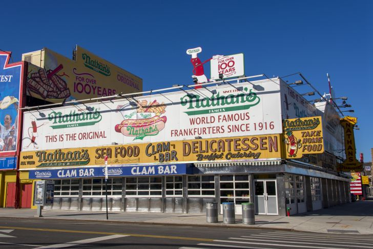 Image of the original Nathan's Famous location in Coney Island