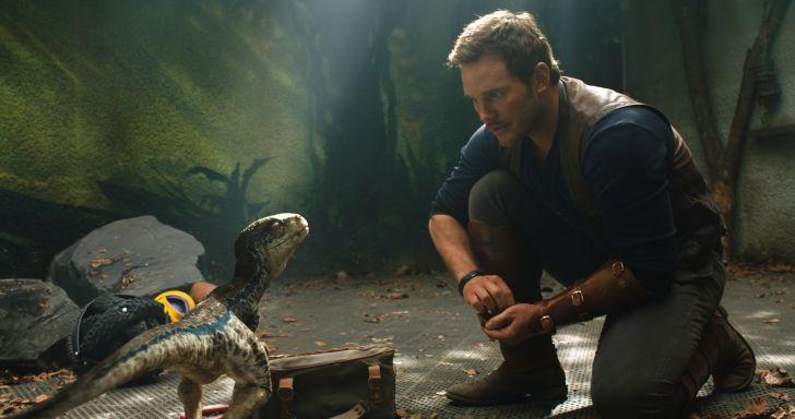Chris Pratt with a baby Velociraptor in 'Jurassic World: Fallen Kingdom' (2018)
