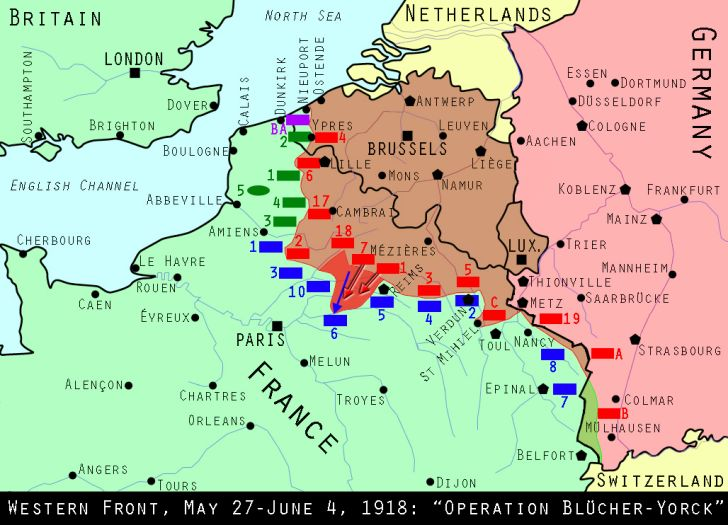 Map of the Western Front, May 27, 1918