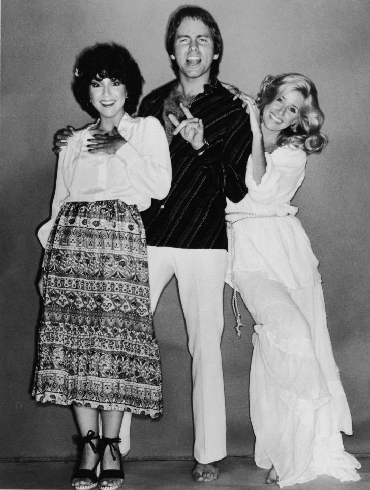 Joyce DeWitt, John Ritter (1948 - 2003) and Suzanne Somers in a full-length promotional portrait for the television series, 'Three's Company', 1979