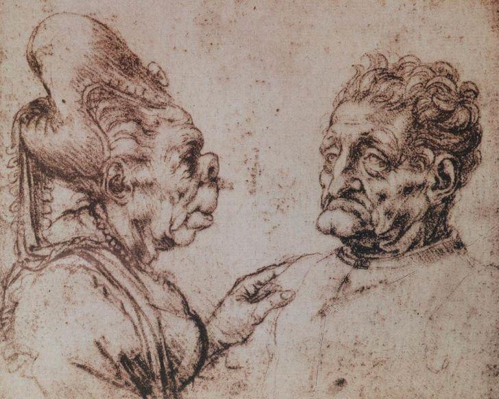 Caricatures by Leonardo da Vinci