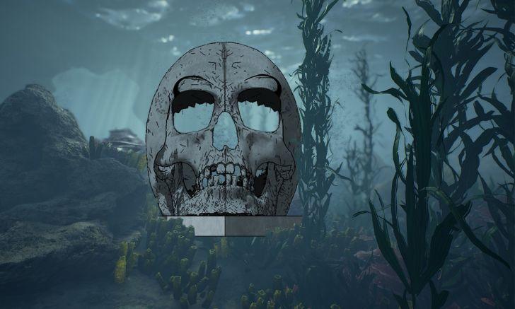 A skull sculpture