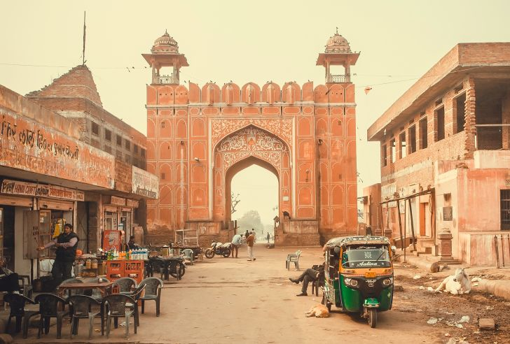 The gate leading into the Pink City