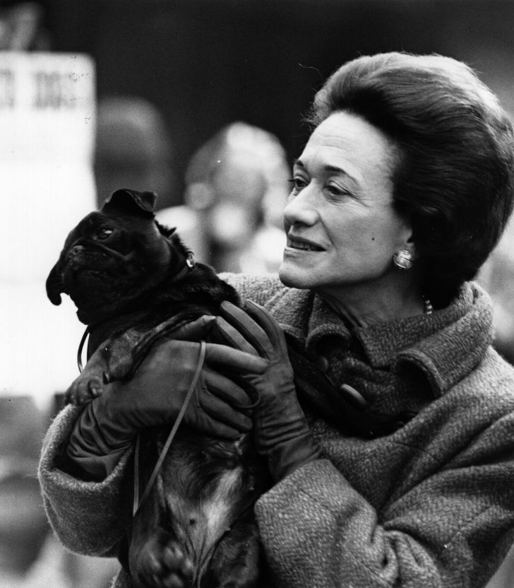 The Duchess of Windsor holding a black pug dog at the Pug Dog Show held at Seymour Hall, London.