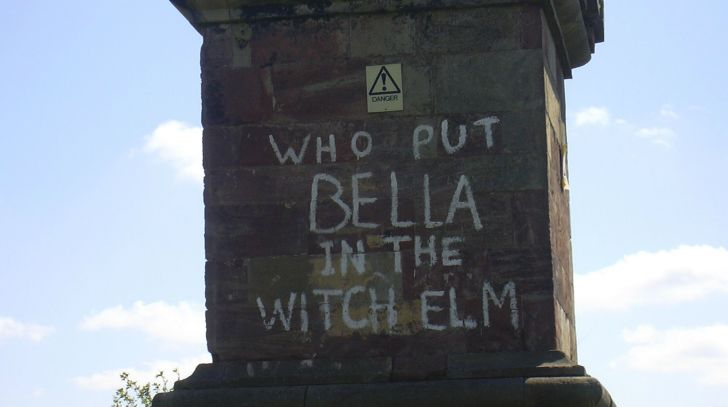 Graffitti referencing the Bella Wych elm murder appears on an obelisk in Worcestershire, England