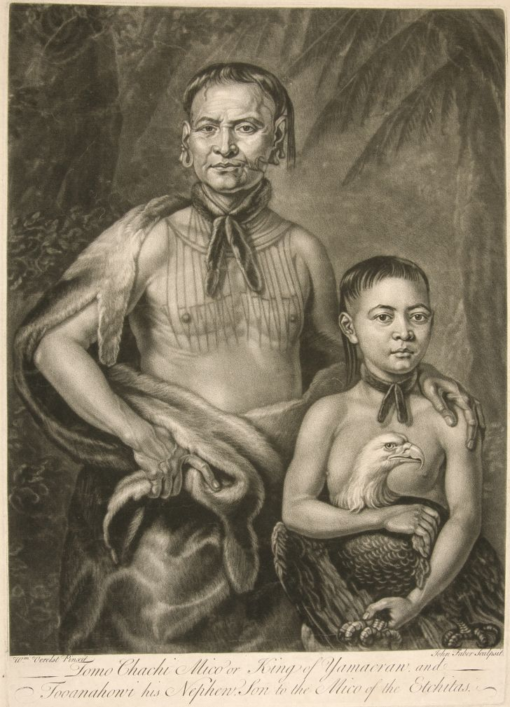 King of Yamacraw and his nephew, mezzotint by John Faber the Younger