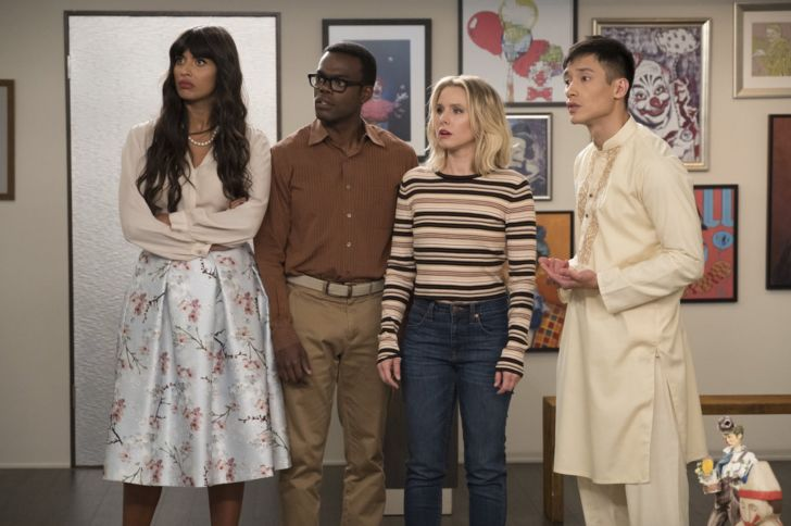 Jameela Jamil, William Jackson Harper, Kristen Bell, and Manny Jacinto in 'The Good Place'