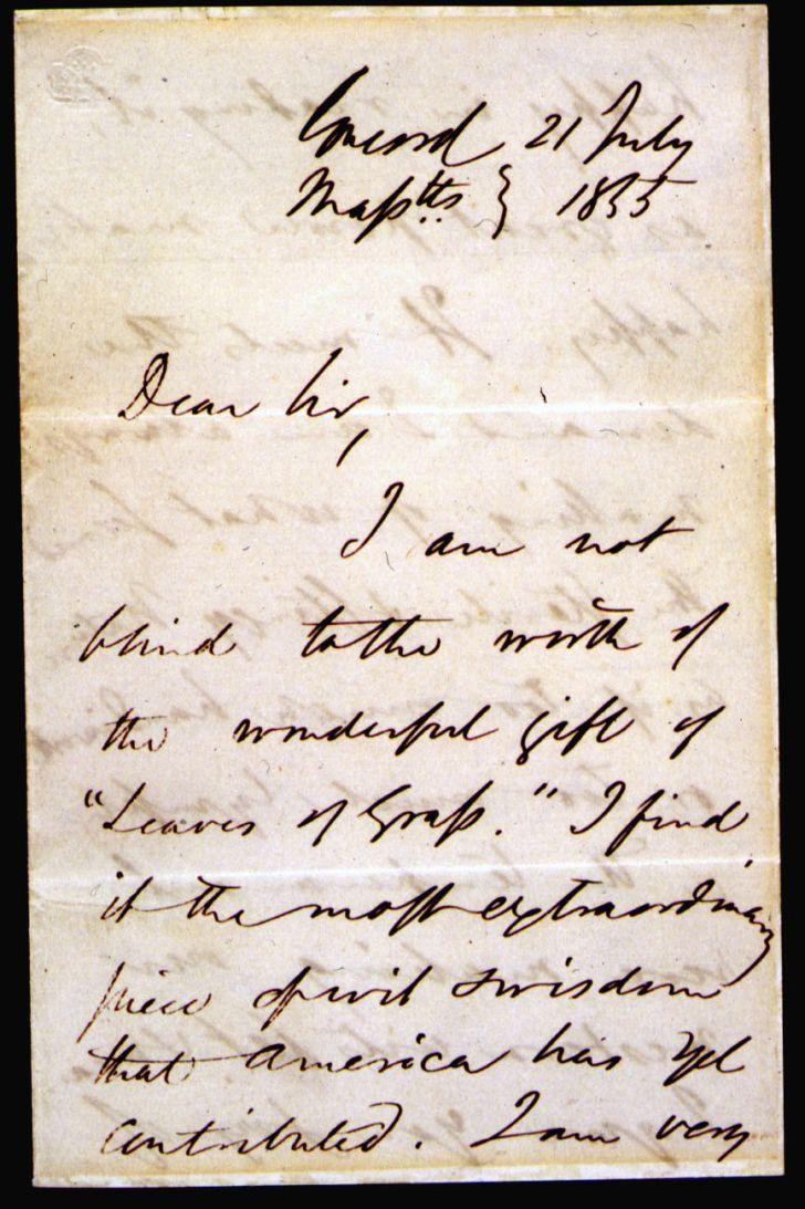 letter from Ralph Waldo Emerson to Walt Whitman