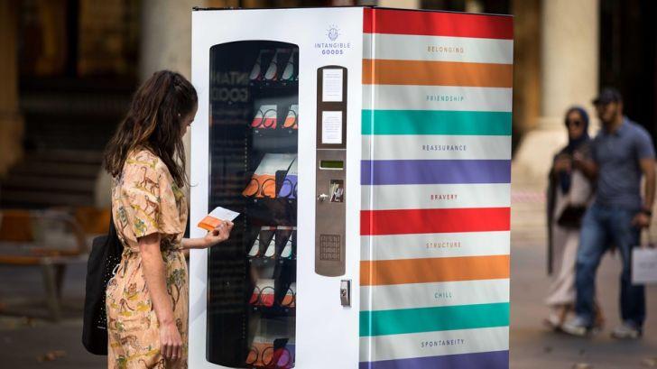 Woman at vending machine.