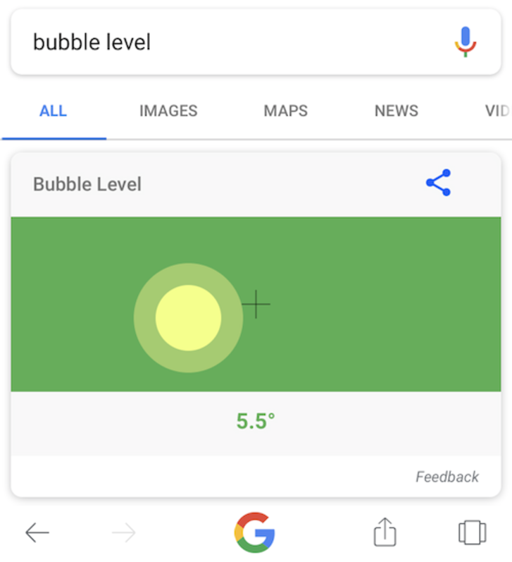 Google Bubble Level tool