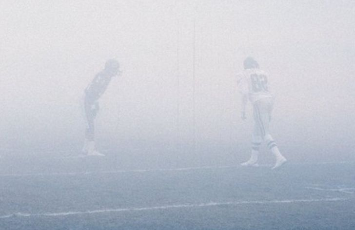 "Bears and Eagles faceoff in the 1988 ""Fog Bowl""."