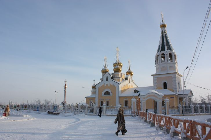 Church surrounded by snow.