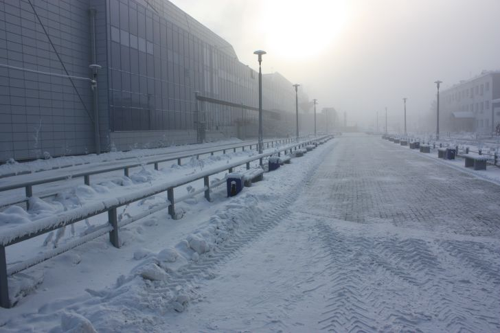 Road covered in snow.