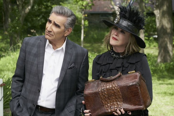 Eugene Levy as Johnny Rose and Catherine O'Hara as Moira Rose in Schitt's Creek.