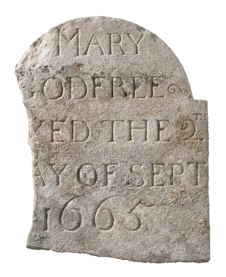 The gravestone of plague victim Mary Godfree, discovered at Liverpool Street in London during the Crossrail excavations.