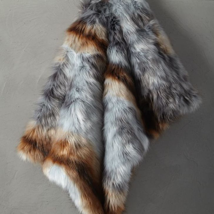 A faux fur blanket from West Elm