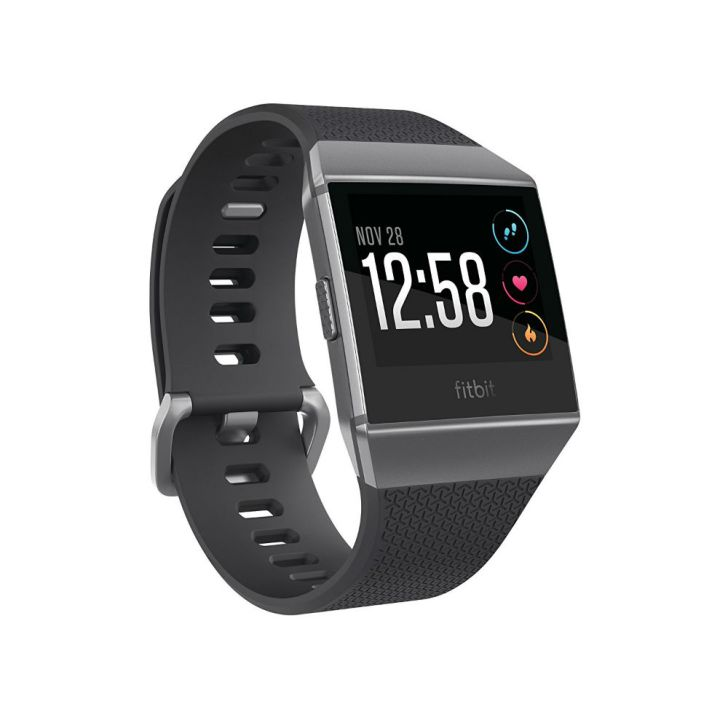 A Fitbit Ionic fitness watch is pictured