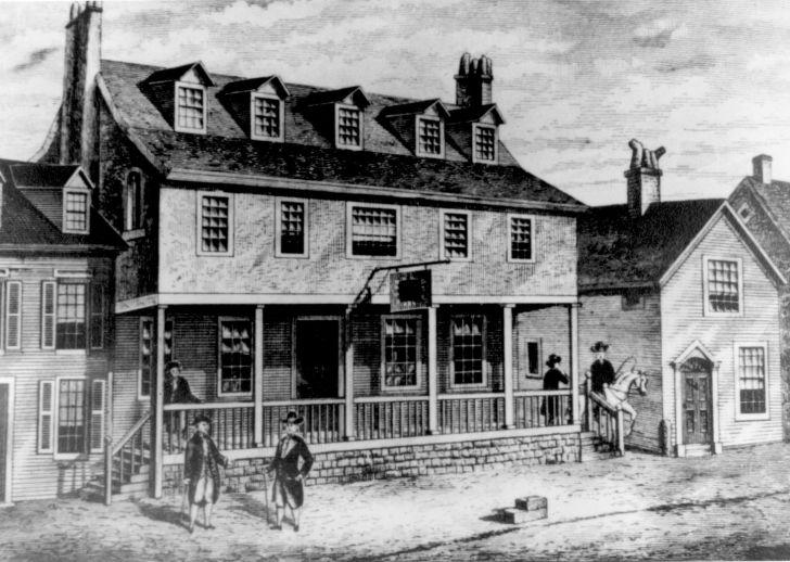 A drawing of Philadelphia's Tun Tavern