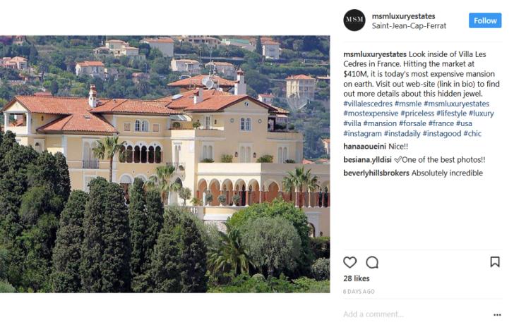 An Instagram post featuring Villa les Cedres