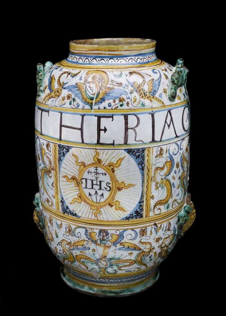 Albarello vase for theriac, Italy, 1641