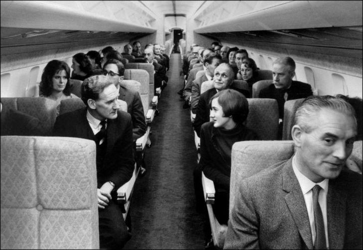 Passengers inside the Concorde circa the 1970s