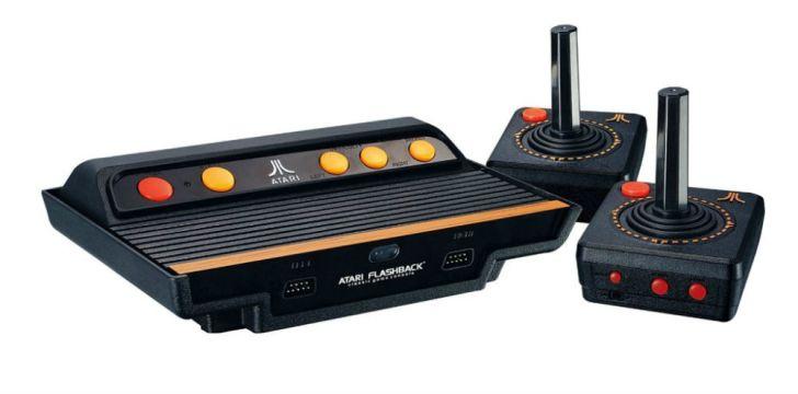 An Atari Flashback clone console with joysticks