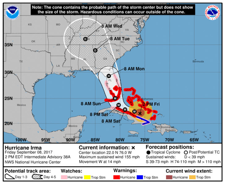 Hurricane Irma's forecast track as of 2 PM EDT September 8, 2017.