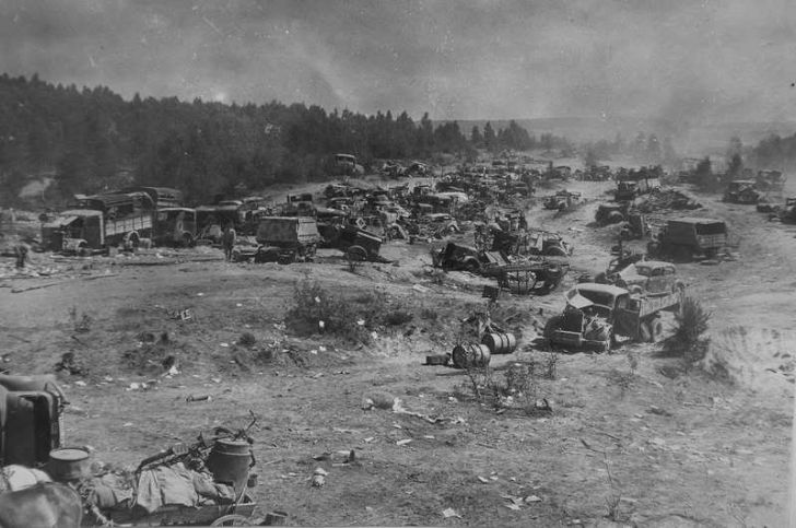 A field of abandoned vehicles in Belarus after German troops retreated from the Soviet advance.
