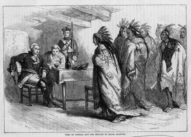 Ottawa chief Pontiac meets with British troops after French and Indian War