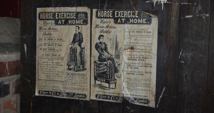An old ad for a horse-riding exercise machine