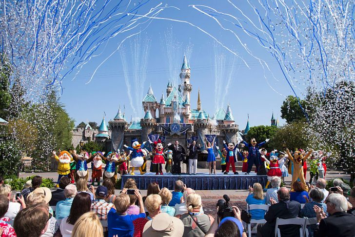 Disneyland park during a ceremony at Sleeping Beauty Castle