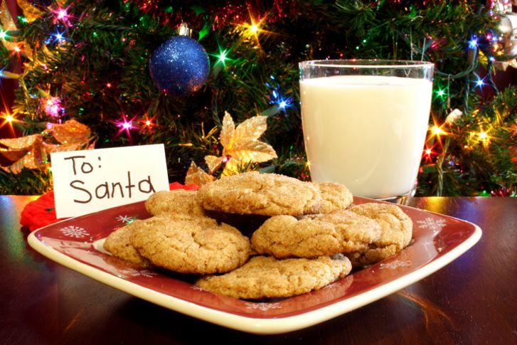 A photo of milk and cookies left for Santa Claus