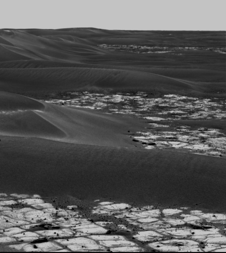 Opportunity rover's photo of Erebus craters and drift