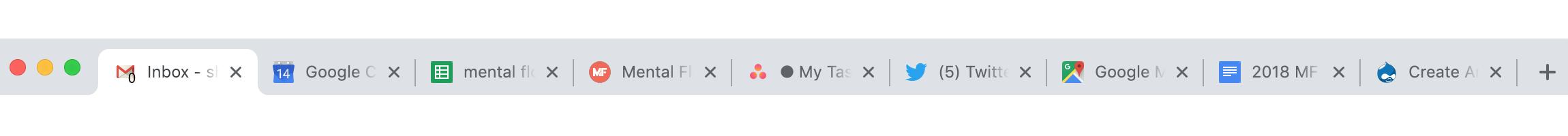 Nine open tabs on a desktop browser