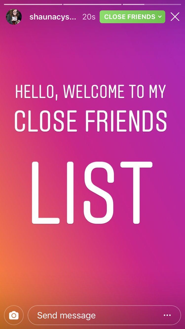 An Instagram story reads 'Hello, welcome to my close friends list' on a bright orange and pink background.