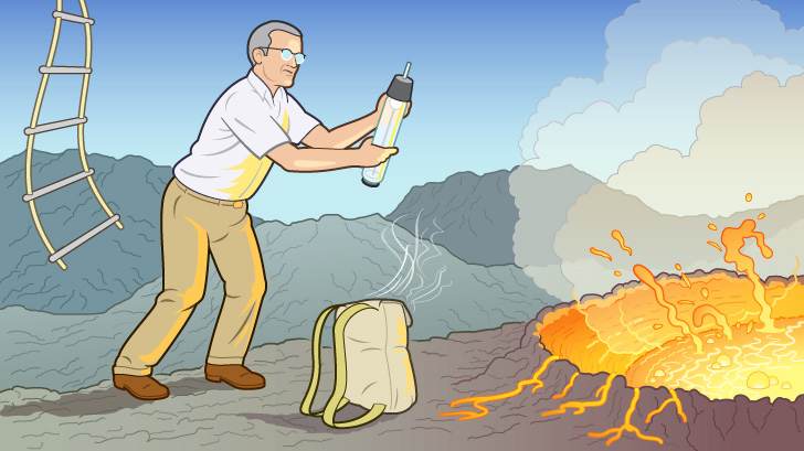 Patterson collected air samples at multiple volcanoes, including Mount Etna.